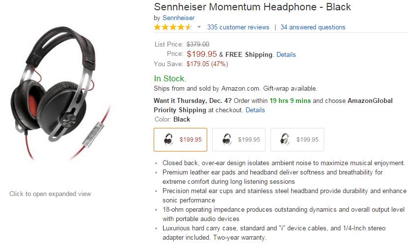 SENNHEISER MOMENTUM 耳罩式耳機 特價 (1/2)