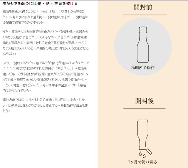 醬油要保持美味的關鍵l 就是要避免『光、熱、空氣』。 資料出處:http://www.s-shoyu.com/know/300.html