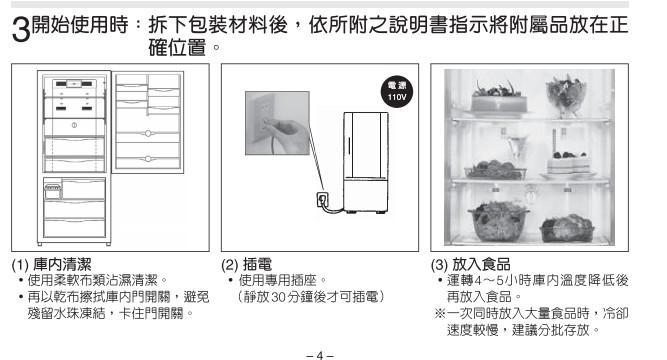 出處:Panasonic冰箱說明書