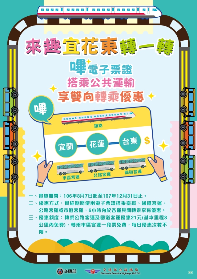 """來""""趣""""宜花東轉一轉 8月7日起搭乘公共運輸享轉乘優惠"""