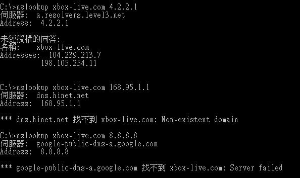 中華電信168.95.1.1跟Google 8.8.8.8所做的Xbox-live.com Domain name查詢結果
