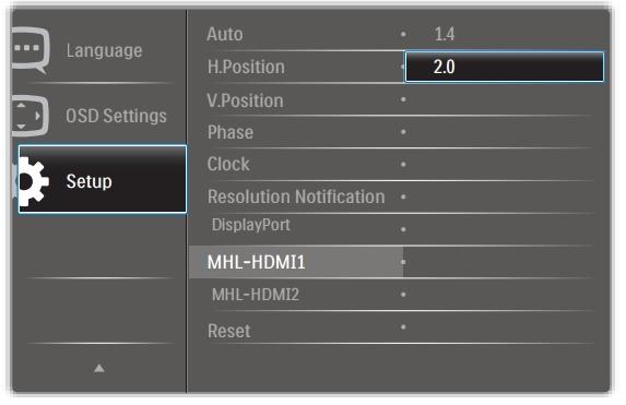 Philips MHL-HDMI 1.4/2.0 setting
