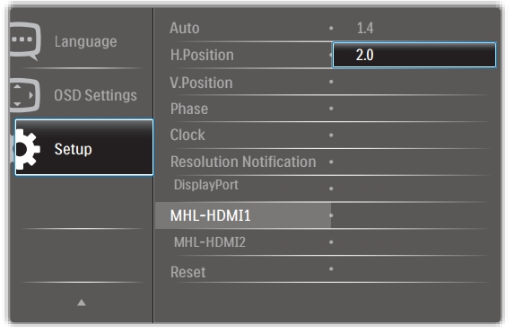 Philips MHL-HDMI 1.4/2.0 setting