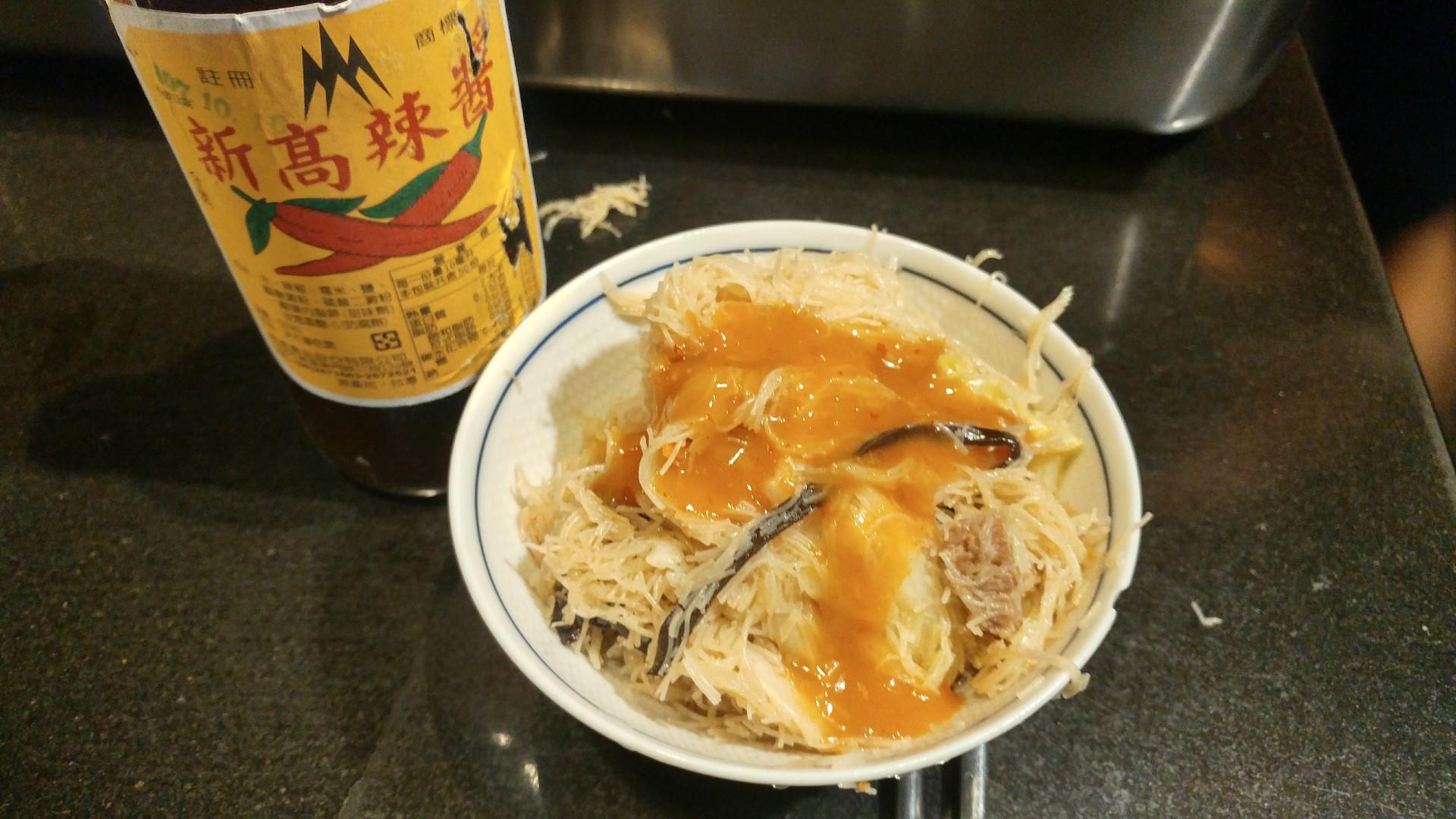 台南新高辣醬 淋在純米炒米粉上