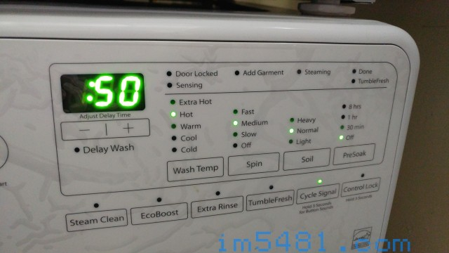 WFW85HEFW 洗衣機設定,熱水(其實是溫水),轉速中,骯髒度普通,沒有預洗。
