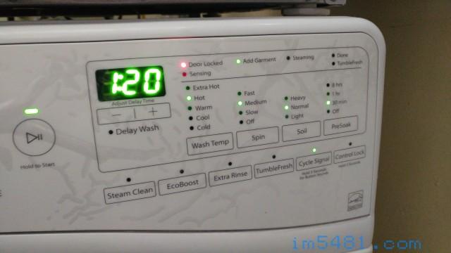 惠而浦 wfw85hefw 滾筒式洗衣機-常用洗衣模式,熱水、脫水中、髒污平常、預洗30分鐘.