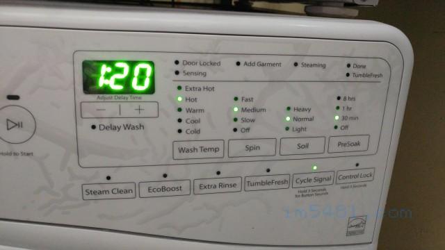 惠而浦滾筒洗衣機的加強清潔方式: 增加預洗浸泡時間 30分鐘(Presoak)