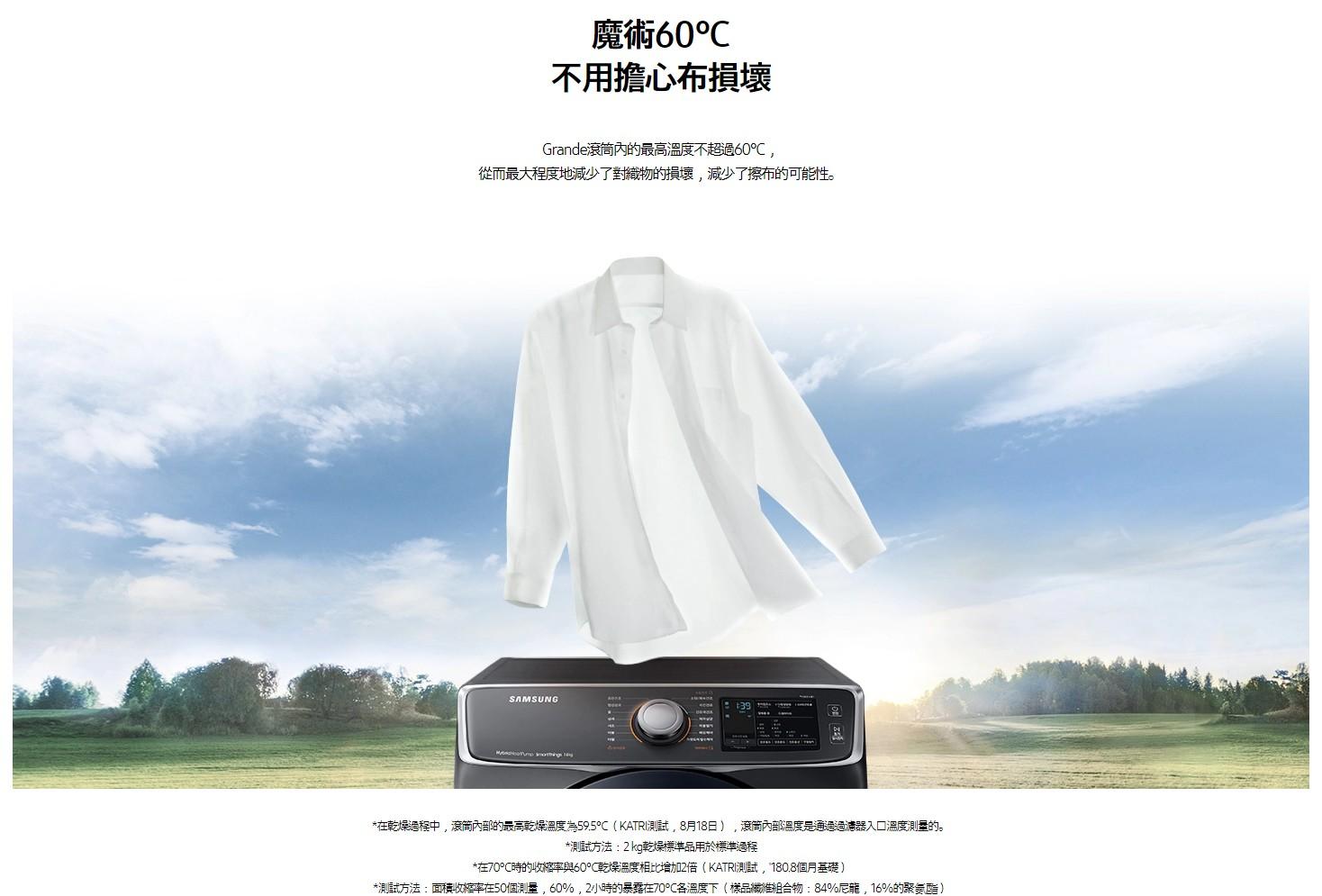 三星標榜烘乾溫度為60℃,不用擔心衣服布質損壞。