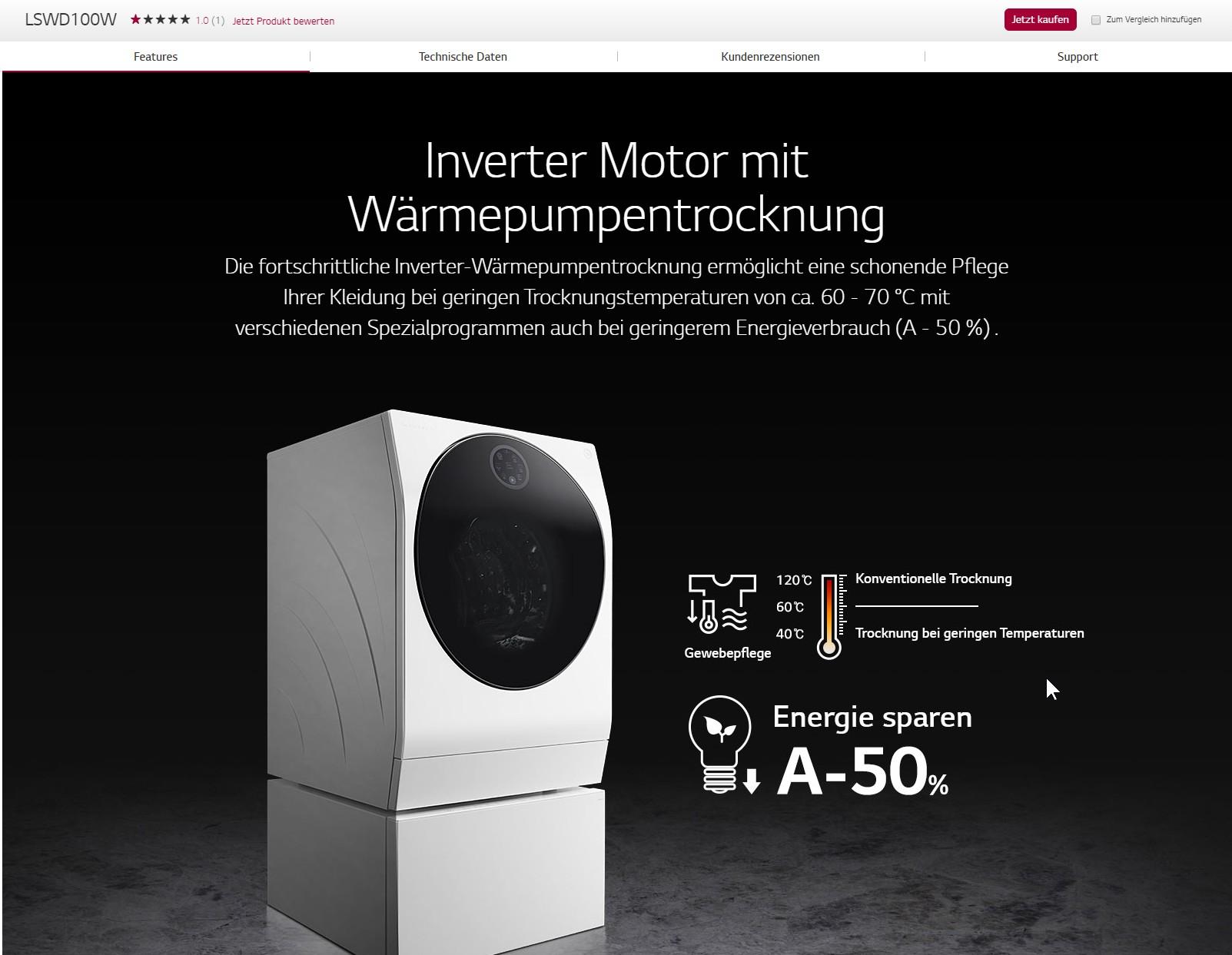LG LSWD100W 標示烘乾溫度為60-70度C