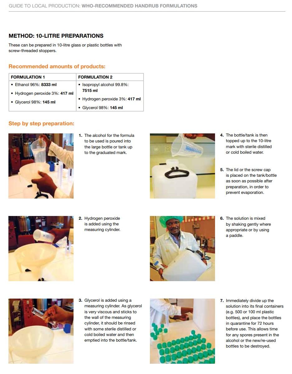 WHO建議乾洗手藥劑的配置過程跟步驟