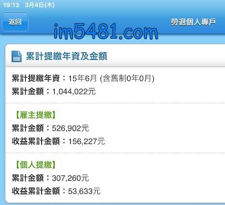 2021年3月4日 勞退個人專戶 累計金額: 1,044,022元