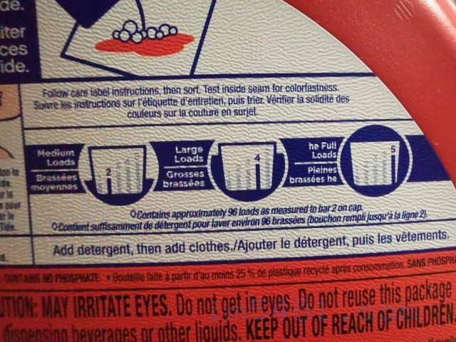 Tide洗衣精包裝說明的洗衣精建議用量,分別是『Medium Loads』、『Large Loads』、『he Full Loads』的用量