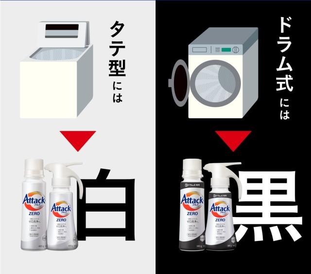 日本花王 Attack Zero 白色為直立式洗衣機,黑色為滾筒式洗衣機