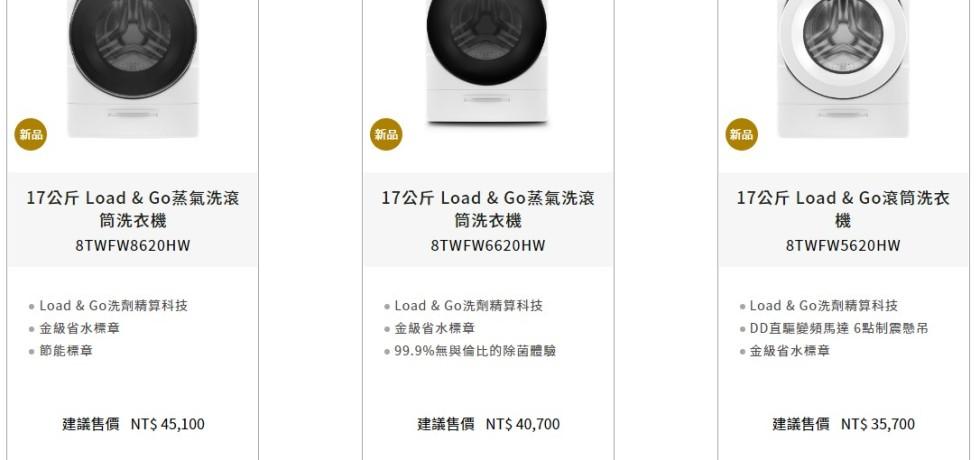 台灣惠而浦新進口的8TWFWXX20HW系列洗衣機,官方都標示洗衣容量為17Kg.