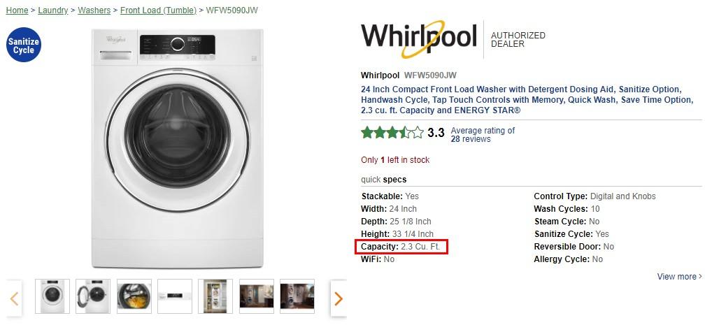WFW5090JW 的洗衣容量為2.3 Cu. Ft.