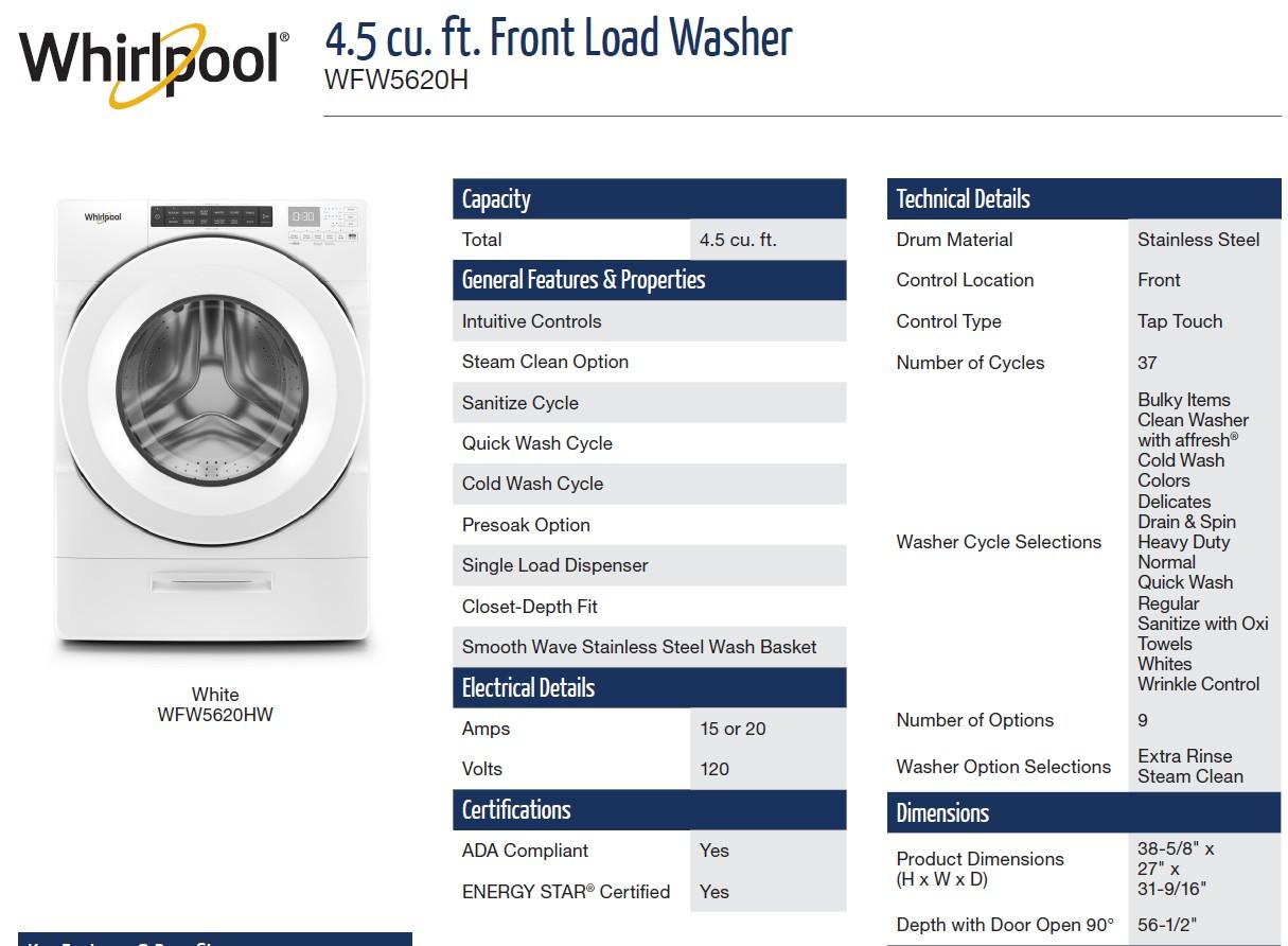 美國Whirlpool WFW5620H 洗衣容量為 4.5 cu. ft.