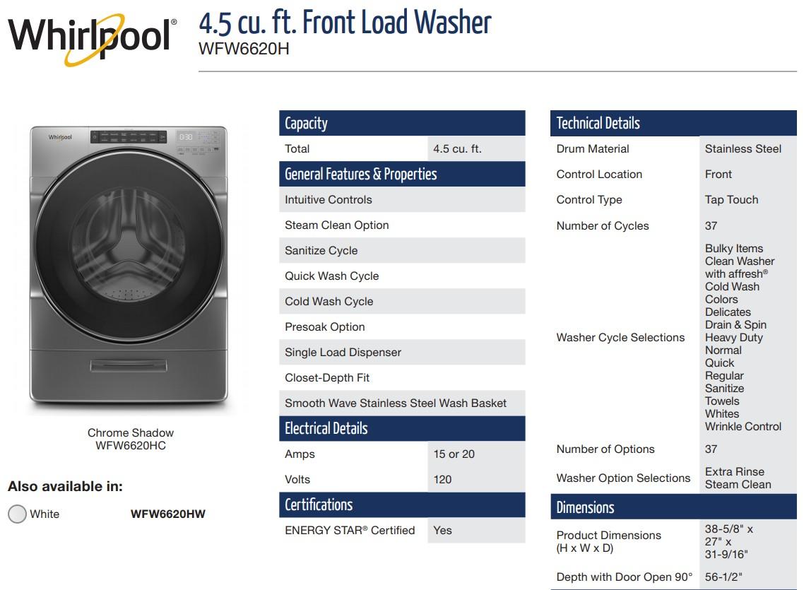 美國Whirlpool WFW6620H 洗衣容量為 4.5 cu. ft.
