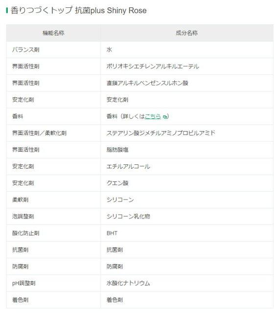 獅王香氛柔軟濃縮洗衣精-抗菌白玫瑰 日文成分表,其中用的柔軟劑為シリコーン (silicone) 。